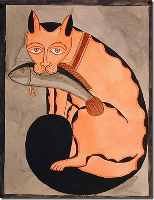 Montu Chitrakar - Kalighat Cat With Fish