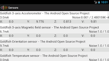 Screenshot of Sensors