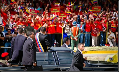 Chavez waves to Chavistas from Bolivar State