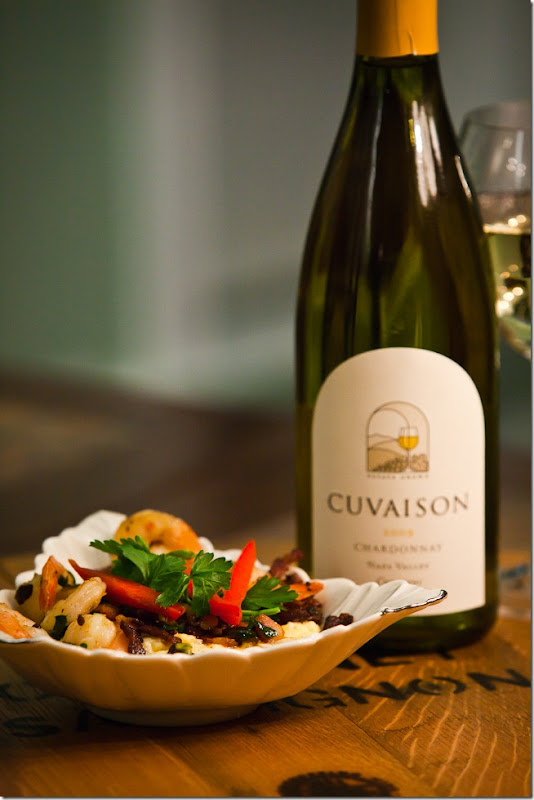 Shrimp and Grits with Cuvaison Chardonnay