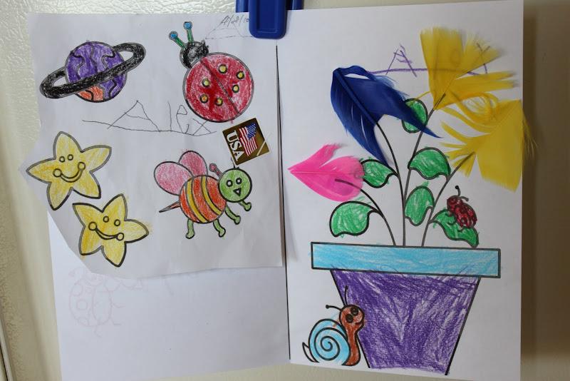 小花园儿童画蜜蜂