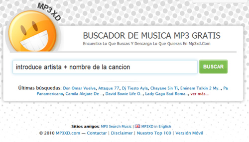 MP3XD buscador pistas muicales y mp3