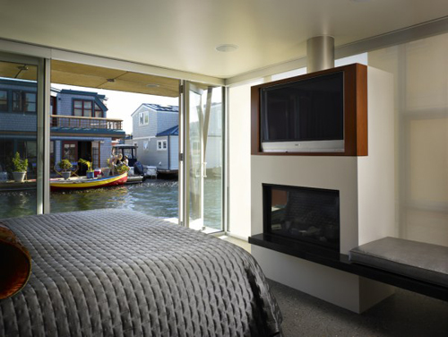 contemporary bedroom in floating home