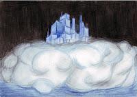 Kresba - abstraktne vyzerajúce mesto z ktorého sa šíri oblak prachu. Obrázok je sfarbený domodra