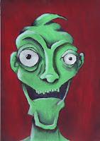 Maľba - zelená nepravideľná tvár neznámeho stvorenia na tmavočervenom pozadí. Tvár sa usmieva a vyzerá skôr smiešne.