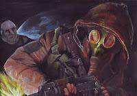 Maľba - vojak so samopalom, ktorý striela smerom naľavo od pozorovateľa. Za chrbtom v tme mu stojí neznáma postava, ktorá pôsobí trochu desivo. Postava má bledú tvár a nepriateľský výraz tváre.