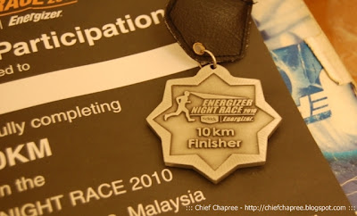 Energizer Night Run 2010 10k Finisher's Medal