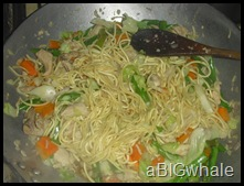add canton noodles. let it absorb the water.. add soy sauce to taste
