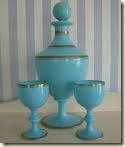 blue opaline decanter set