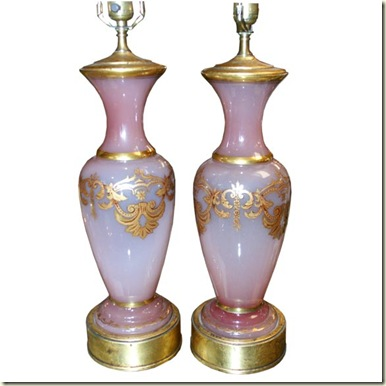 pink opaline set of lamps