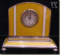 yellow guilloche clock