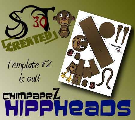 HippHeads Chimp Paper Toy