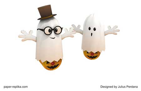 Tilting Halloween Ghost Papercraft