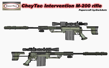 CheyTac Intervention Sniper Rifle Papercraft M200