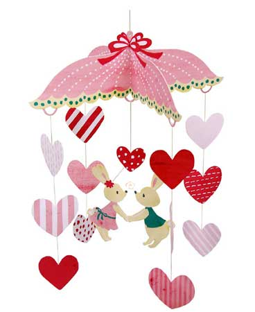 Heart Rabbit Mobile Papercraft