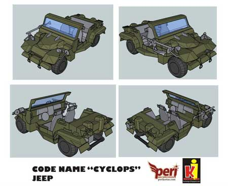 Zeon Cyclops Jeep Papercraft