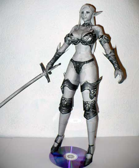 Lineage 2 Female Dark Elf Papercraft bikini