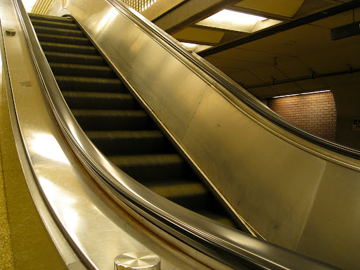 Escalator in motion