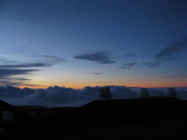 Sunset and telescopes