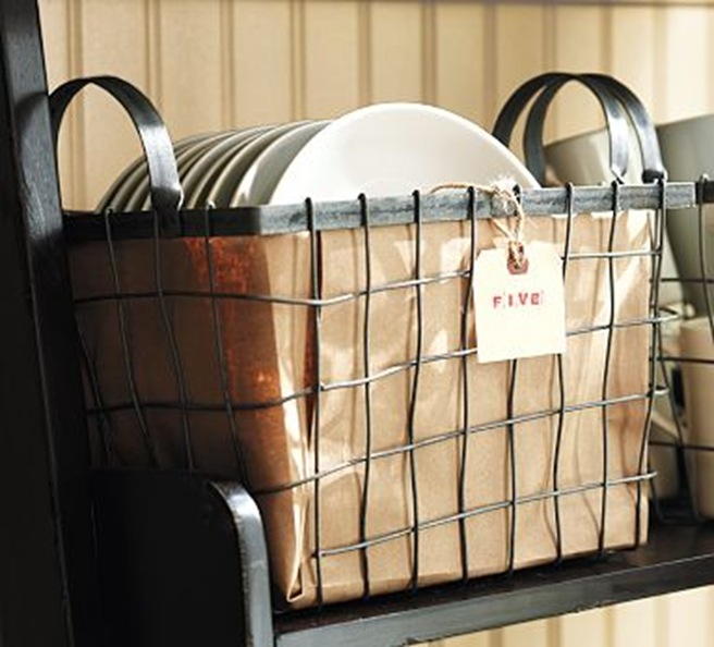 wired basket with handles