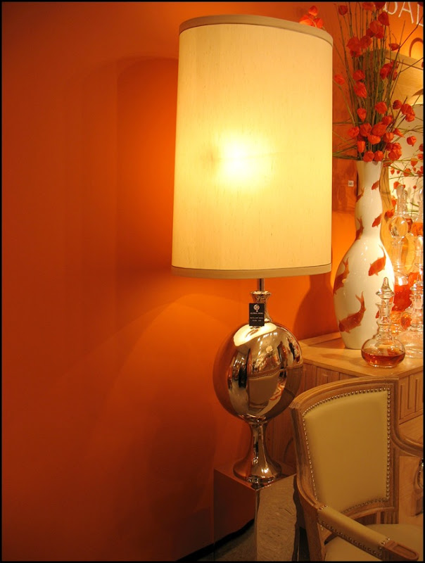 lamp, orange wall