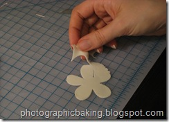 Cutting out gum paste flowers
