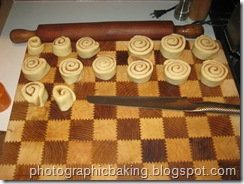 The sticky buns are cut from the master roll