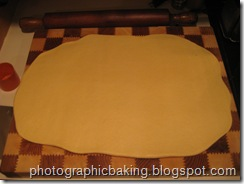 The dough is rolled out