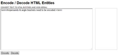 Encode / Decode HTML Entities