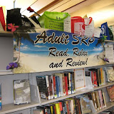 Adult Summer Reading Program Read Relax Review Display with Banner and Prize Bags
