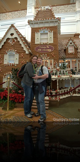 Enchanted Rose and me in front of Gingerbread House