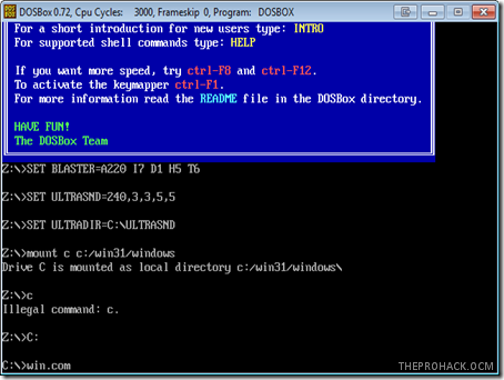 DosBox running windows 3.1 - theprohack.com