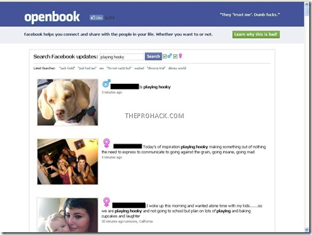 Easily Search Facebook status updates – another Facebook privacy panic