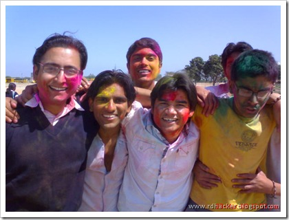 Celebrating Holi with my college Friends - Me in center
