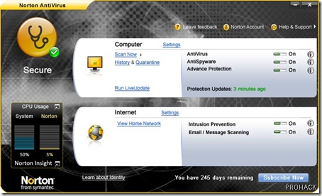 Norton Antivrus 2009 interface