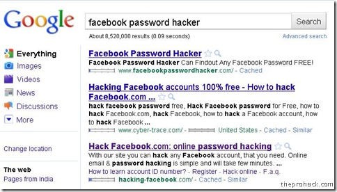 Facebook password hacking - theprohack.com