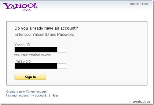 Enter your Yahoo Id & click sign in