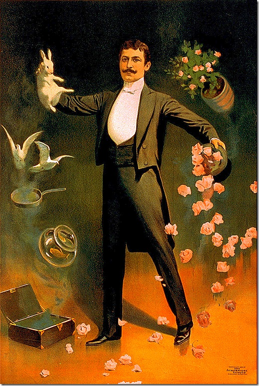 Advertising poster for Zan Zig the magician performing with rabbit and roses, Strobridge Lithograph Company, Cincinnati & New York, 1899