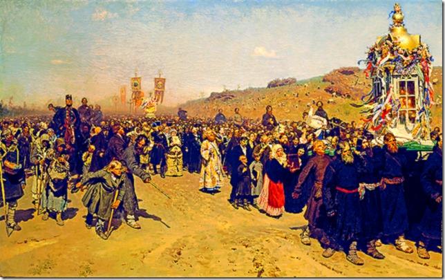 Ilya_Repin_-_Крестный_ход_в_Курской_губернии_-_Google_Art_Project_Easter Procession in Kursk, Ilya Repin, early 1880s