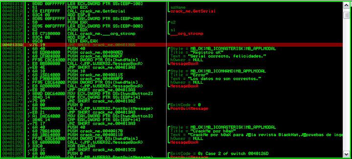 Instrucción 0040133A en el depurador OlyDbg.