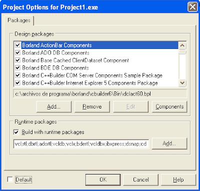 Opciones del proyecto