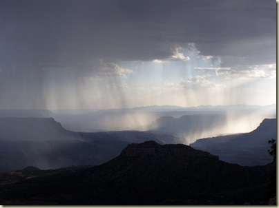 09 Sun through rain clouds over canyon from Crazy Jug Point Kaibab NF AZ