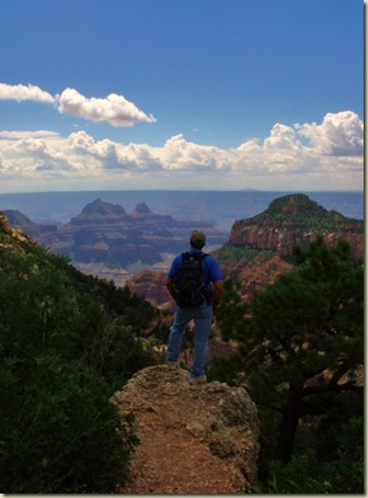 10 Mike on rock outcrop overlooking Widforss Point & temples from off Transept trail NR GRCA NP AZ (754x1024)