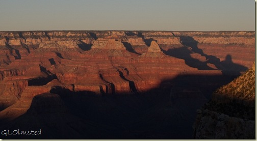 Afternoon shadows from temples South Rim Grand Canyon National Park Arizona