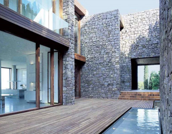contemporary stone decor house design plans