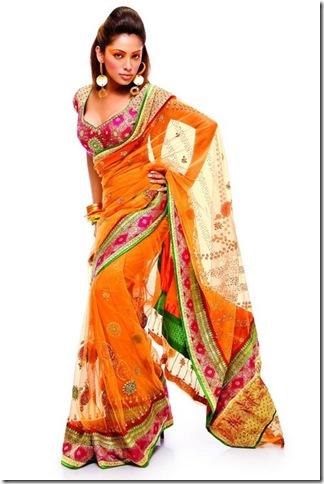 Anjumodi-Orange-Designer-Sari