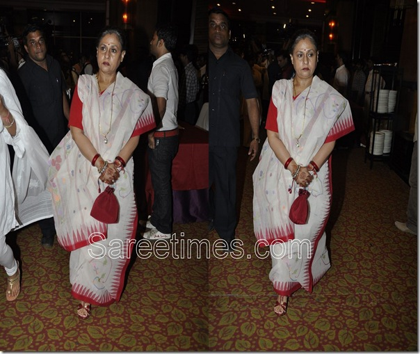 Jaya Bachchan_White_Traditional Saree