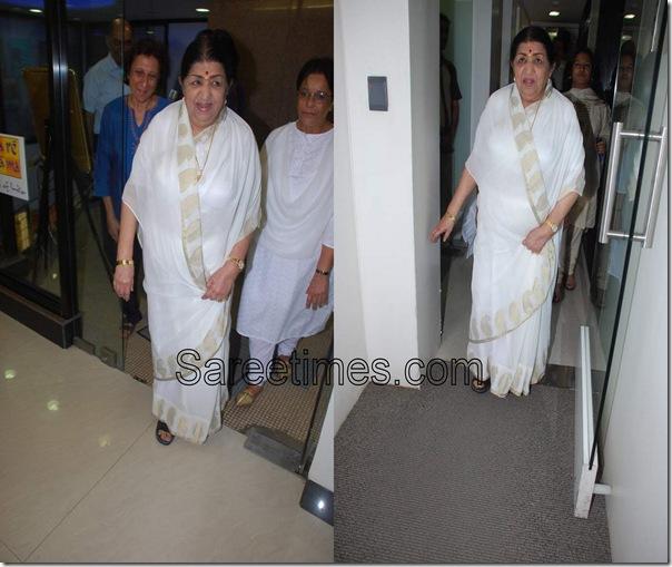 Latha Mangeshkar_White_Saree