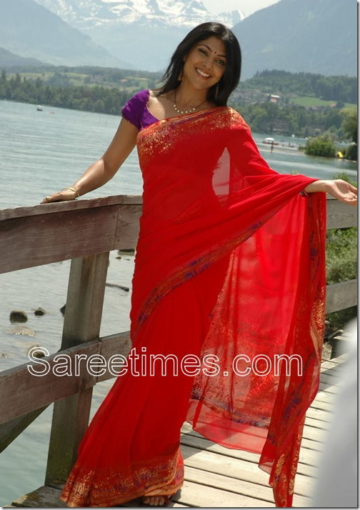 Kamalini_Mukharjee_Red_Saree