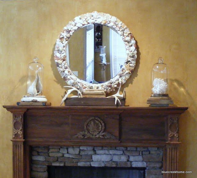 декорация на огледало с раковини